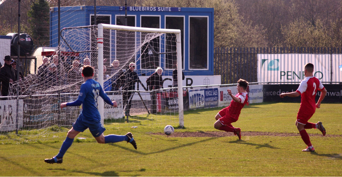 Scott Thomas slots home for Haverfordwest. PICTURE: Western Telegraph.