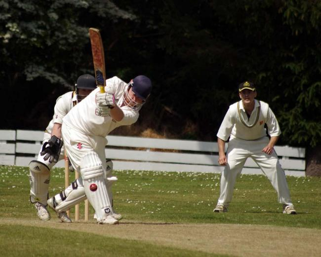 Harry Thomas plays to the leg side for Lawrenny.