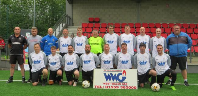 Hakin over 40s before their Welsh Cup final.