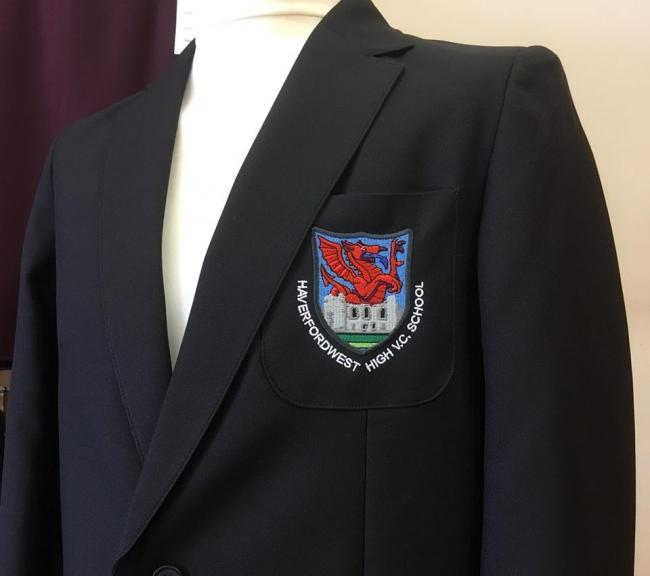 The Haverfordwest VC High School Blazer is embroidered with the school logo. PICTURE: Tees R Us.