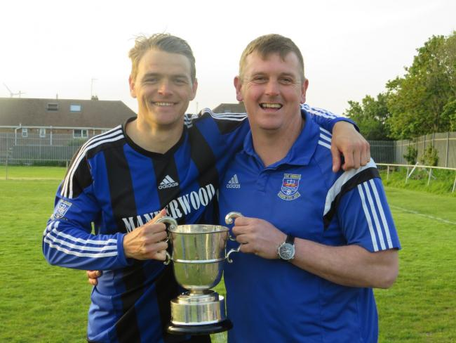 Bennett (right) with skipper Nicky Woodrow after winning the 2017/18 Division One title.