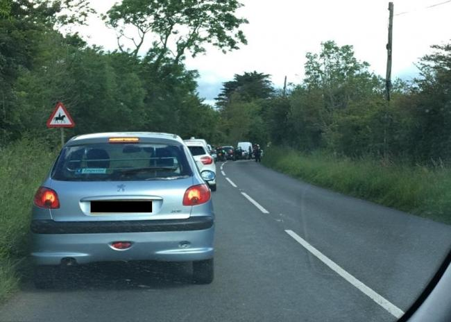 Queuing on the Pembroke Road after this morning's crash